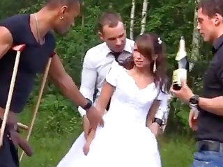 Sexy Bride in Foursome Gangbang