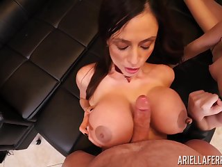 Gung-ho Ariella Ferrera and Brooke Johnson suck a dick until he cums