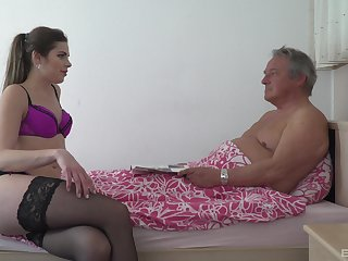 Blonde babe in fishnets Sarah Smith swallows increased by older mans cum