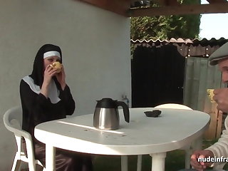 Young french nun sodomized in threesome connected with Papy Voyeur