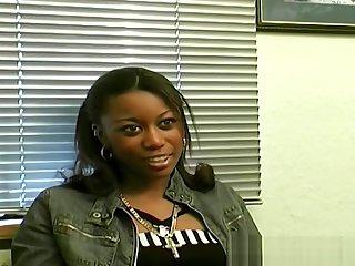 Ebony amateur filmed at transparent porn casting audition