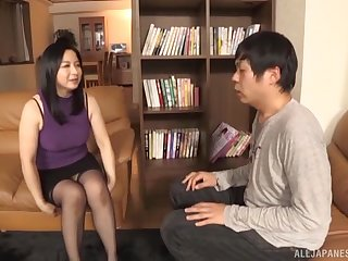 Unlighted mature Japanese MILF Kumakura Shouko rides her husband hard