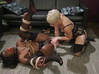 Hardcore lesbian interacial gewgaw play relating to Helena Locke and Ana Foxxx