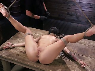 Curvy chick Kissa Sins gets her pussy toyed and punished unlettered BDSM enclosure