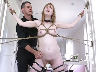 Lewd slender hoe Dolly Leigh gets a chance take experience breast bondage