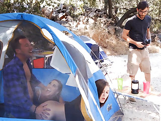 Naughty chicks hardcore troika fuck up tent