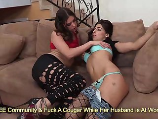 Kinky brunettes Victoria Lawson and Allie Jordan kissing and rubbing primarily sofa