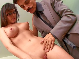Old boss with a big cock gets head from his secretary
