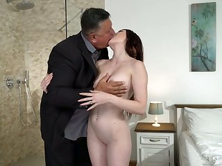 Cute young brunette Mia Evans is eager for crazy mating with experienced old stepdad