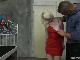 Slutty pale blonde whore Lovita Fate is fucked missionary during bondage