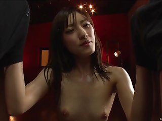 Iioka Kanako goes down and begins sucking their cocks one at a time