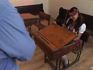 Chunky natural tits Valery Summer in miniskirt fucked by her teacher