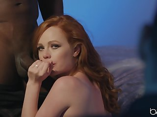 Interracial shacking up on the bed with redhead chick Ella Hughes