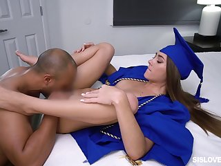 Black teacher fucks a difficulty fresh graduate in a difficulty pussy then cums on will not hear of nuisance