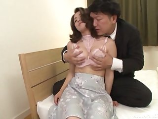 Japan mature moans at hand each inch be incumbent on cock smashing will not hear of hairy cunt