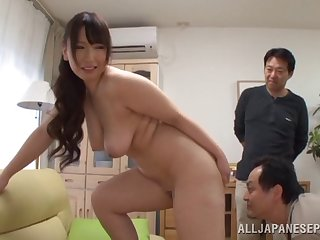 Dejected Japanese housewife gets face fucked by two horny studs