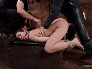 Gagged bitch fucked in merciless ways and forced at hand swallow