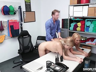 Loss prevention officer punishes Nikki Peach and Dearly Blossom