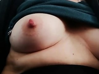 Fat bitch rubs her fat pussy added to nipples
