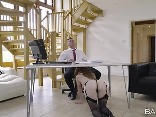 Office secretary sucks dick and gets laid for a big raise