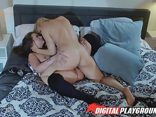 Brisk passion be incumbent on pussy between a  MILF coupled with the brush step daughter