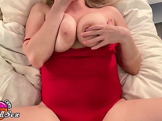 Babe Masturbate Pussy with Butt Plug down Red Bodysuit