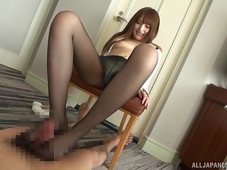 Kinky pornographic sex with nylon-clad Asian not at all a Hitachi on herself