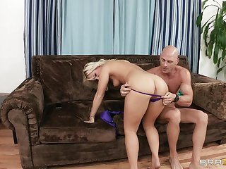 Sexy blonde Kimmy Olsen ass fucked off out of one's mind her lover and moans near pleasure