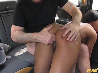 Ebony chick feels the cab au pair girl fucking her like a bull