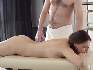 Nice MMF threesome upstairs the massage table with amateur Nicki Down in the mouth
