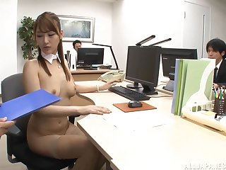 Cum doting slut Wanana Nao enjoys sucking multiple cocks in the office