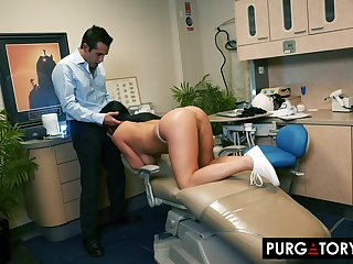 Smoking super-hot swarthy haired with huge bra-stuffers is having xxx bang-out with her fantastic dentist, in his office